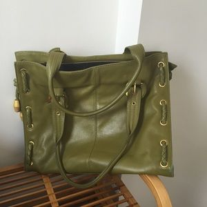 Green leather tote from APC
