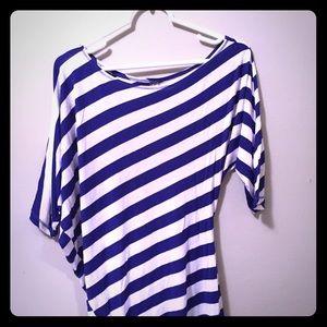 Tops - Blue & White Striped Asymmetrical Top