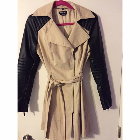 order online new items best choice Bebe Trench Coat Leather Sleeves
