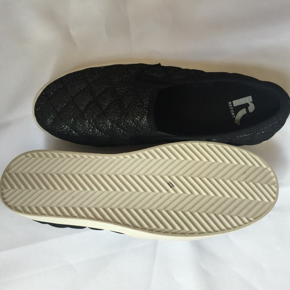 65 report shoes black glitter slip on shoes from