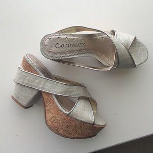 Coconuts Shoes - Beige cork sandal heels