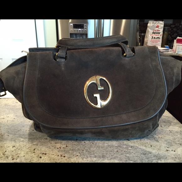 824d1b872d8 Gucci Handbags - Gucci Olive Green 1973 Suede Top Handle Tote Bag