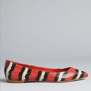 Loeffler Randall Shoes - Loeffler Randall Red Watersnake Print Flats 37