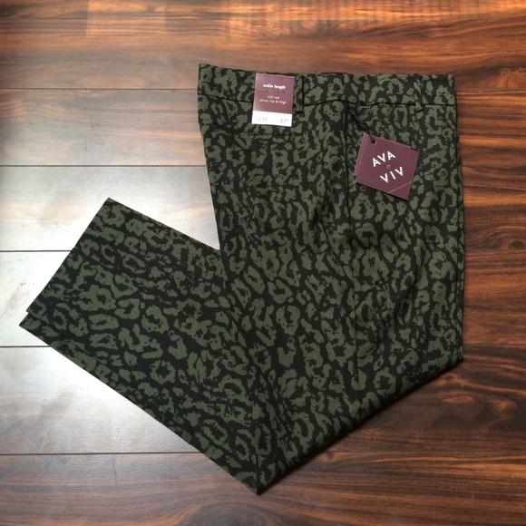 698b5bf9b227 AVA & VIV Pants | Plus Size Ankle Green Leopard Print | Poshmark
