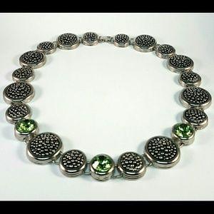 Accessories - Silver Tone Emerald Green Rhinestone Necklace