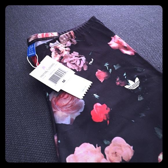 2e0f98b78c2f93 Adidas Pants | Rita Ora Leggings Rose Print Size M | Poshmark