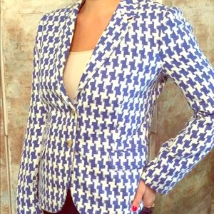 JCrew Houndstooth Stitched Blazer