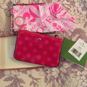Kate Spade NWT pink and red polka dot wallet