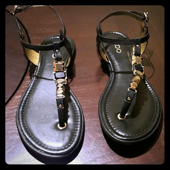 ALDO Shoes   Black Thong Jeweled