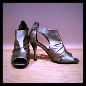Metallic peep toe booties . Size 9
