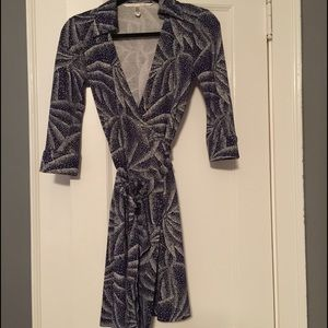 Purple/white Diane Von Furstenberg wrap dress