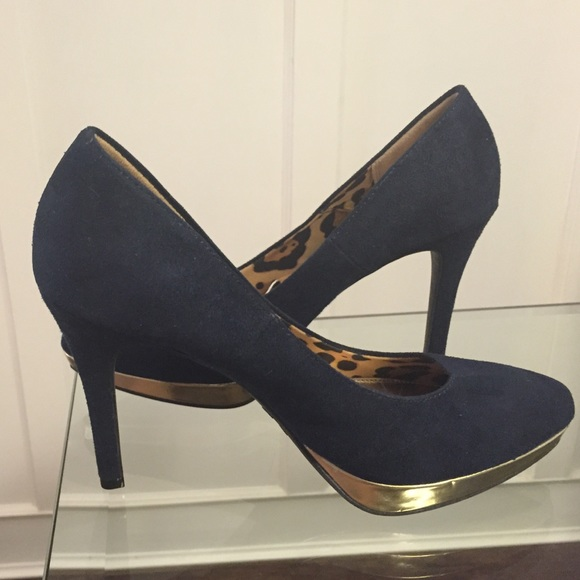 1147ec9824 Christian Siriano Shoes | For Payless Navy Suede Heels | Poshmark