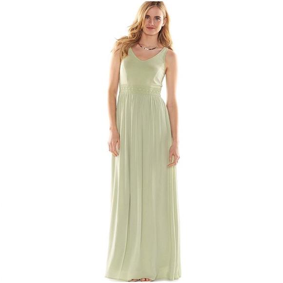 eb0878d92344d LAUREN CONRAD Green Crochet Trim Maxi Dress