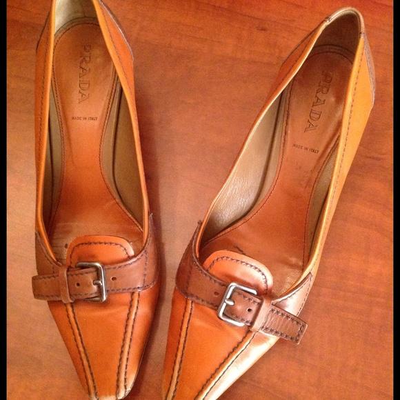 95% off Prada Shoes - Prada Camel Leather Buckle Spectator Pump ...