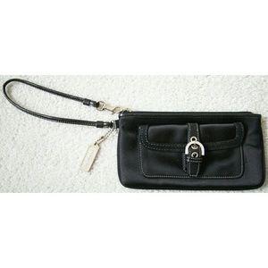 Coach satin wristlet, rhinestones/leather trim