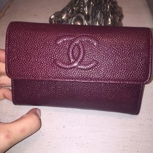 Rare Authentic Chanel Caviar Wallet in Burgundy