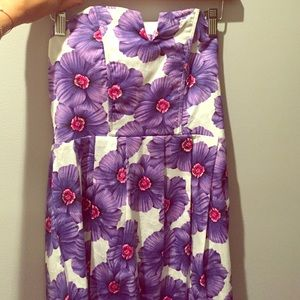 Vintage strapless purple flower dress