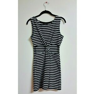 Dresses & Skirts - Black and White Striped Front Cutout Bodycon Dress