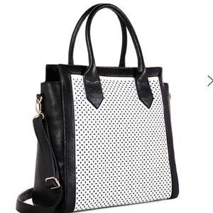 Black and white tote and shoulder bag