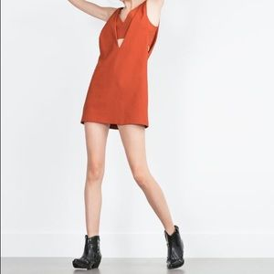 Zara Dresses & Skirts - Zara orange pinafore dress
