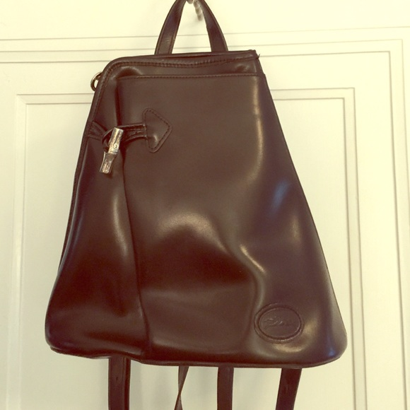 22362565dac Longchamp Bags   Black Leather Backpack Purse   Poshmark