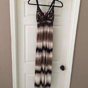 Dresses & Skirts - Long casual animal print top stripe bottom dress
