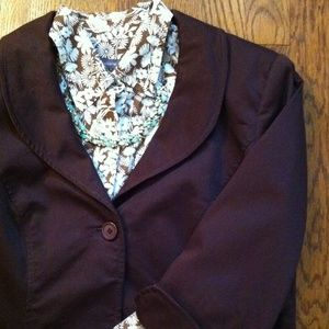 Liz Claiborne Tops - Brown & White Semi Fitted Floral Blouse