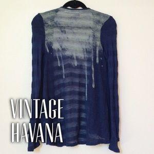 Vintage Havana Sweaters - Paint drop navy stripe sweater *was $30*