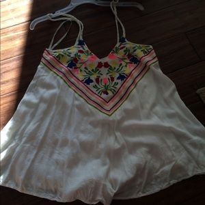 LF white and flowered neon romper