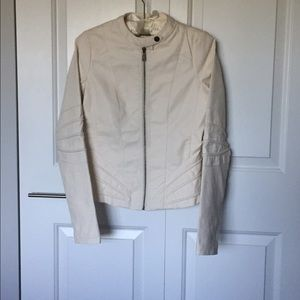 NWOT Vegan Leather Fitted Jacket - Cream / White