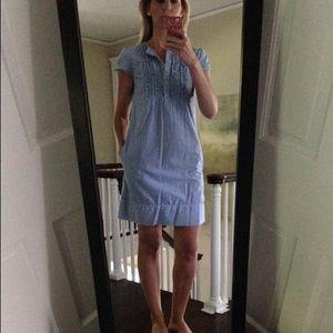 Gap blue pinstripe shift dress size 2 blue white