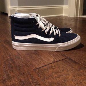 79959ec5b95453 Madewell Shoes - Madewell navy suede sk8-hi slim vans!