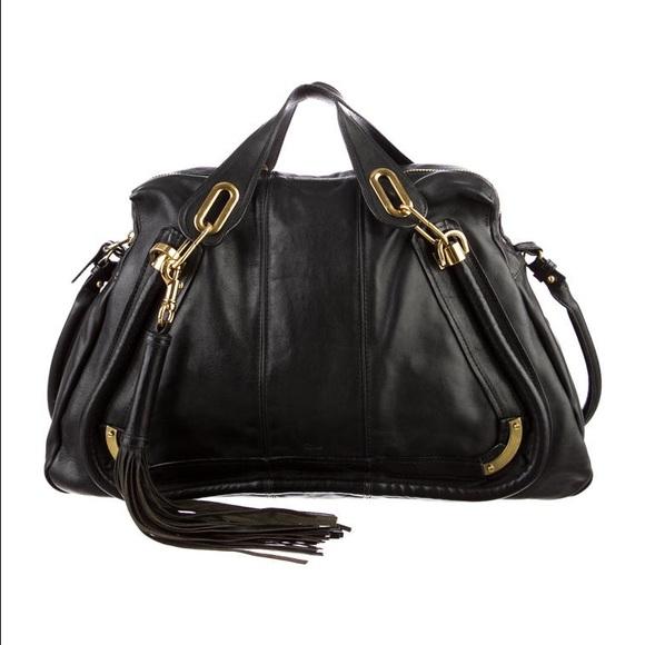 62% off Chloe Handbags - 100% auth CHLOE Paraty Black w/gold large ...