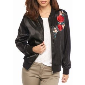 New Directions Floral Embroidered Bomber Jacket.