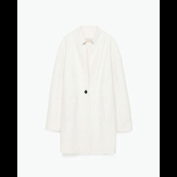 23% off Zara Jackets & Blazers - Zara White Wool Coat from Y's ...
