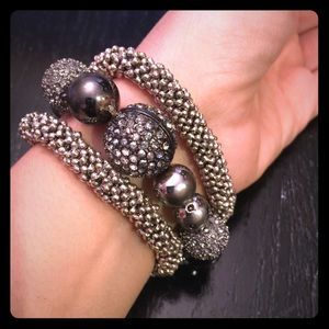 Set of three metallic bead & rhinestone bracelets