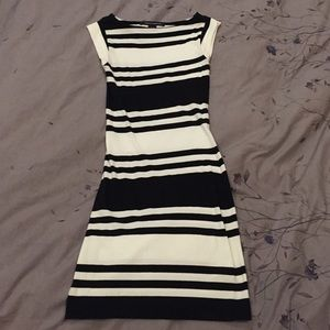 French Connection navy/white stripe dress