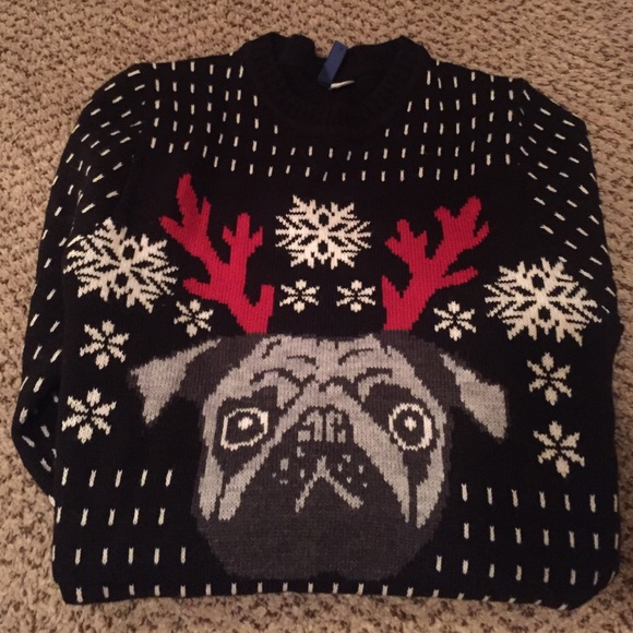 ugly pug sweaters divided sweaters hm ugly christmas pug sweater small 9735