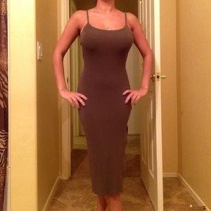 Olive Green Midi Ribbed Dress