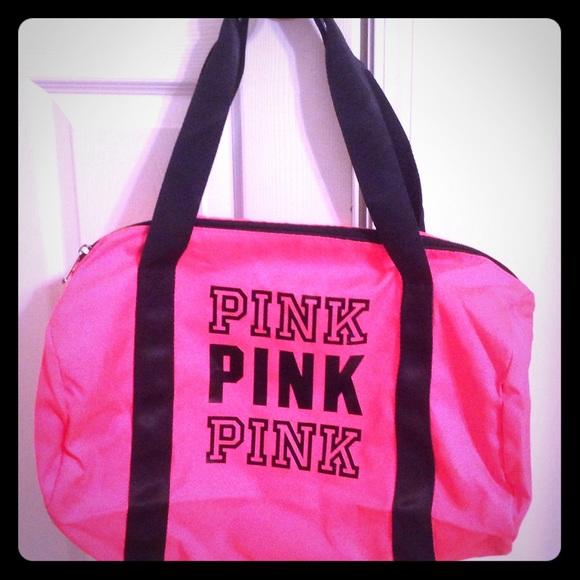 PINK Victoria s Secret Bags   Pink Duffle Bag Hot Pink And Black ... 5cc6430e30