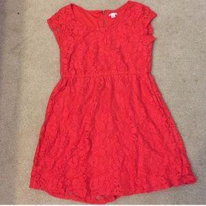Dresses & Skirts - Dark Orange Capsleeved Lace / Net Dress