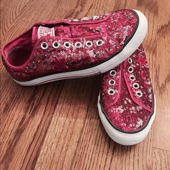 1d6bf707053284 Converse Shoes - Converse Slip On One Star Pink Sequin Shoe Size 7