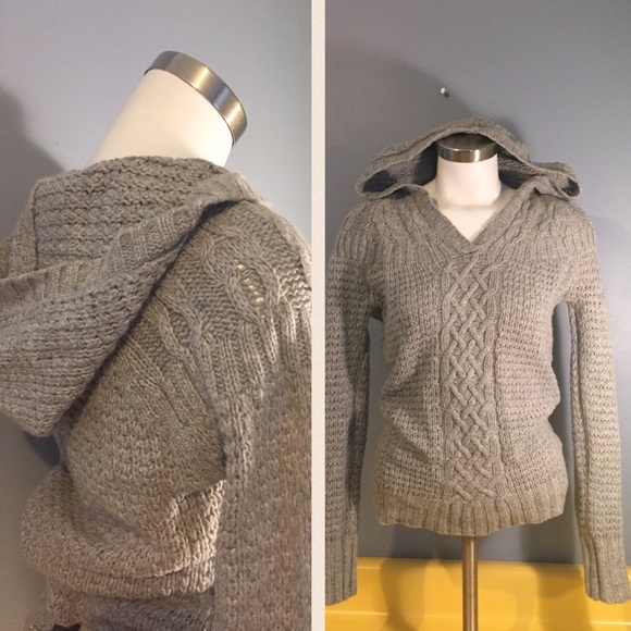 Old Navy - Hooded Gray Cable Knit wool Sweater from Joanne's's ...