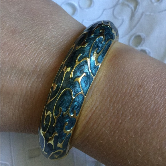 Jewelry - Gold Tone & Teal Bangle Bracelet