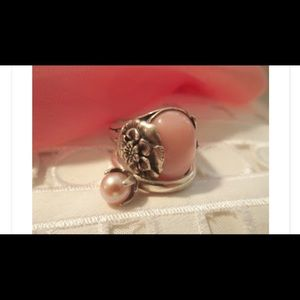Jewelry - 💕🌺 Pink Opal Sterling Floral Cocktail Ring 🌺💕