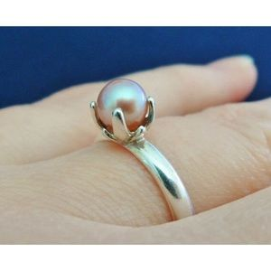 💕🌺 Pink Pearl & Sterling Solitaire Ring 🌺💕