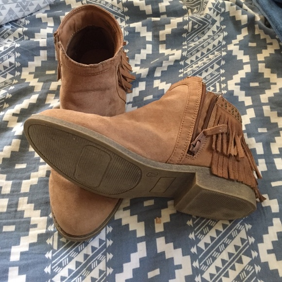 67% off Mossimo Supply Co. Shoes - Tan fringe suede ankle booties ...