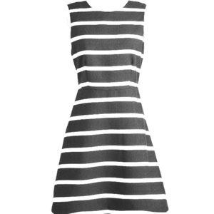 Dress: black and white striped