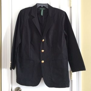 Like New Black Lauren Blazer with Black Crest