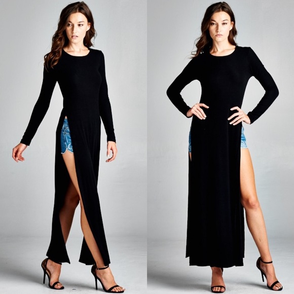 Bare Anthology Quot Odyssey Quot Long Sleeve Side Slit Maxi Top